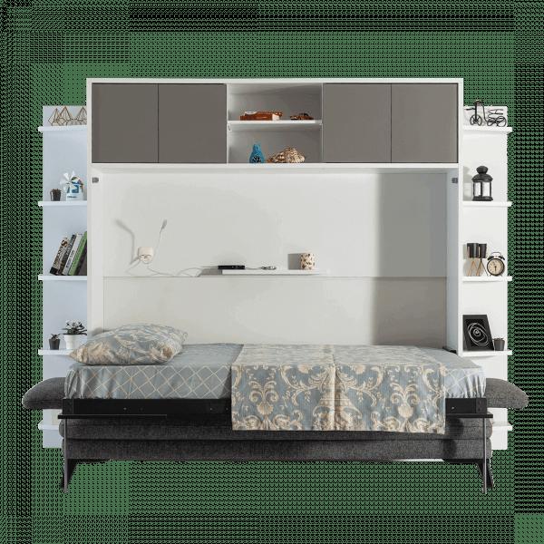 lit escamotable horizontal 2 places avec lit ouvert