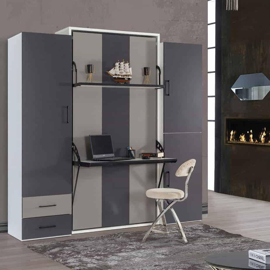 armoire lit escamotable vertical 1 place dans chambre